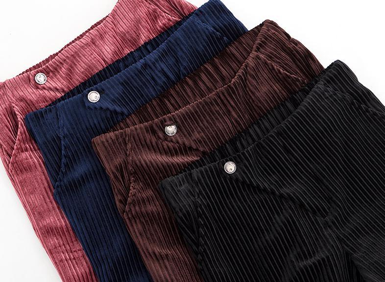 Rouge Velours Pantalon Printemps Femmes Femme Mode Droit coffee Automne red Pantalon Taille Marine Mesdames Large Haute Jambe Hiver navy Lâche Black zwzgqCIS