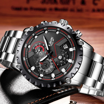 LIGE Men's Full Steel Chronograph Calendar Waterproof Quartz Watches 3