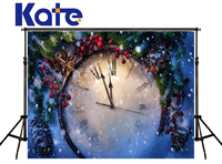 Kate Christmas Backdrops Photography Clock Dial Red Fruit Fond Studio Photo Kate Pineal Snow Spot Digitally Printed Backgrounds