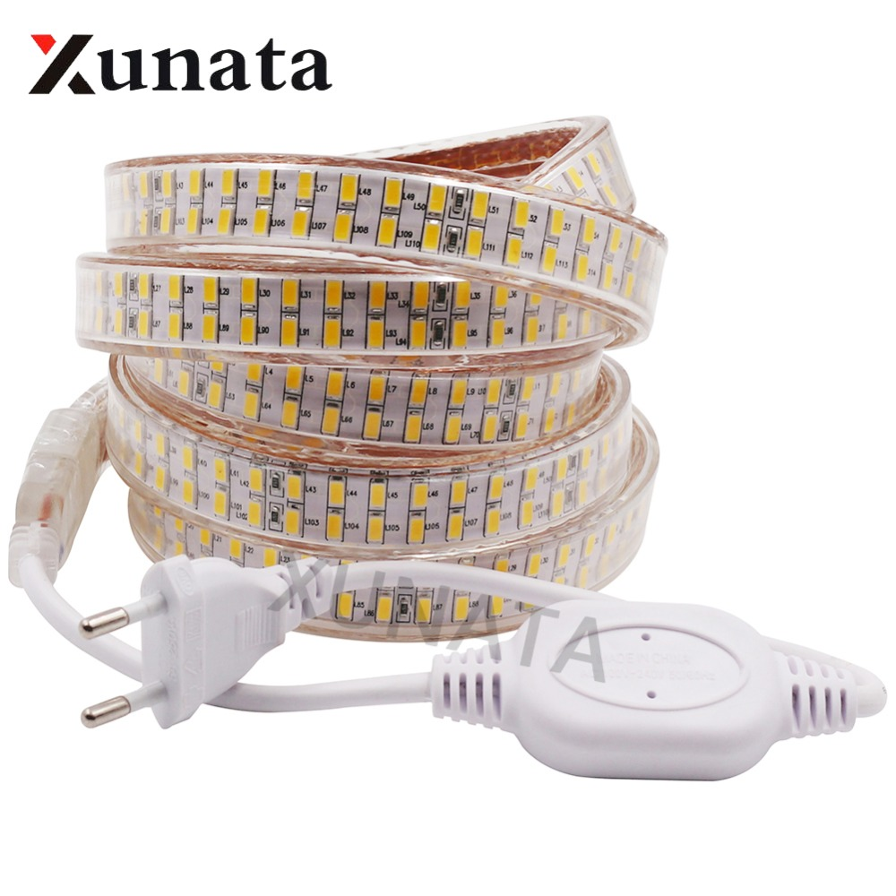 5630 LED Strip 220V Dimmer/Switch Waterproof SMD 5730 Double Row 240Leds/m White/Warm White Flexible Led  Strip Light Lamp