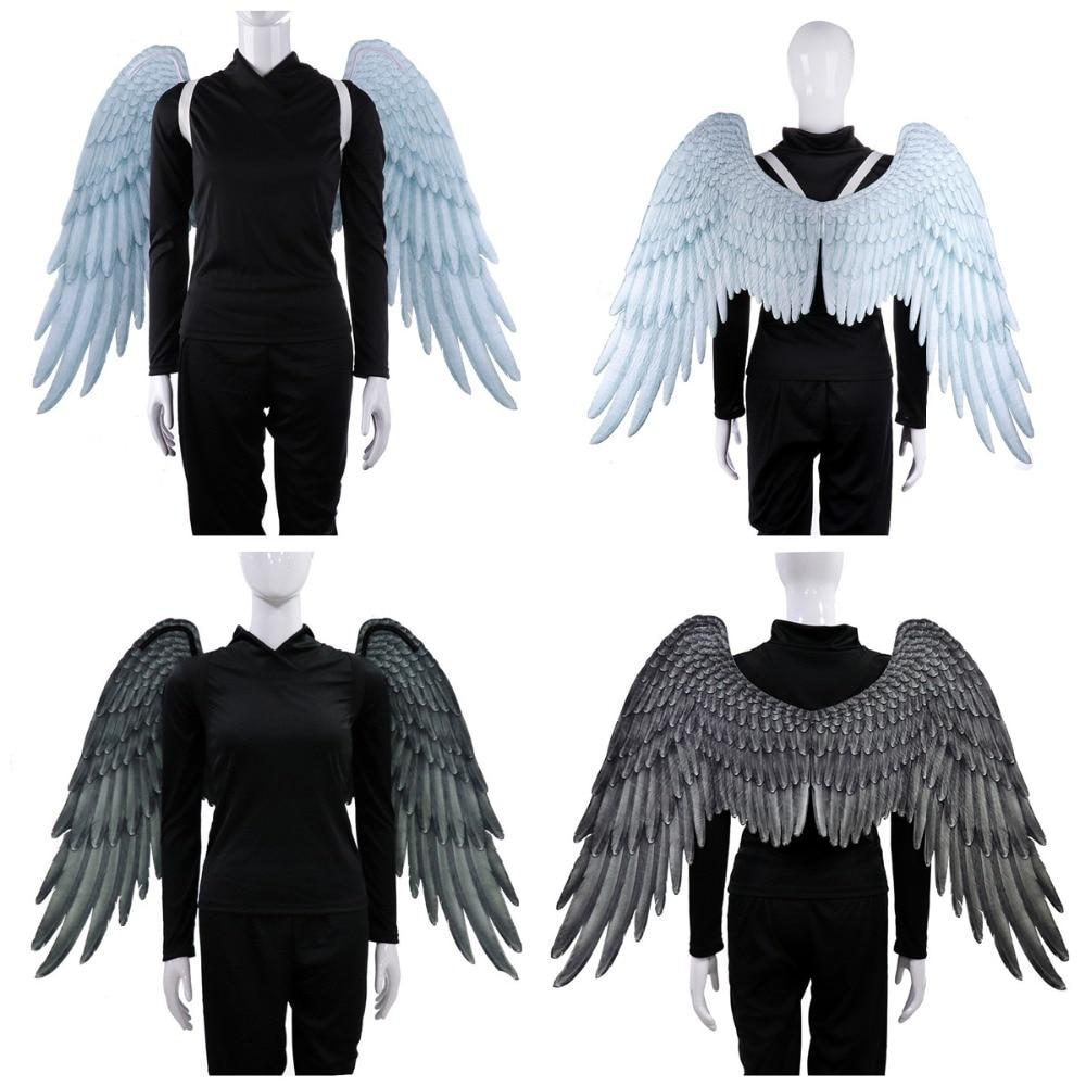 2019 High Quality Pu Foam Soft Engelenvleugels Adult Women Cosplay Costume Black and White Asas De Anjo Alas De Angel Wings