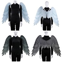 2019 High Quality Pu Foam Soft Engelenvleugels Adult Women Cosplay Costume Black and White Asas De Anjo Alas De Angel Wings