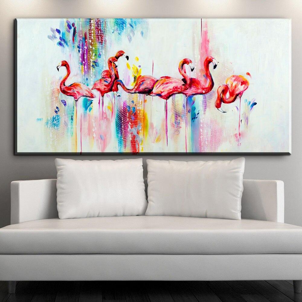Xdr279 Modern Flamingo Canvas Painting Geometric Triangle