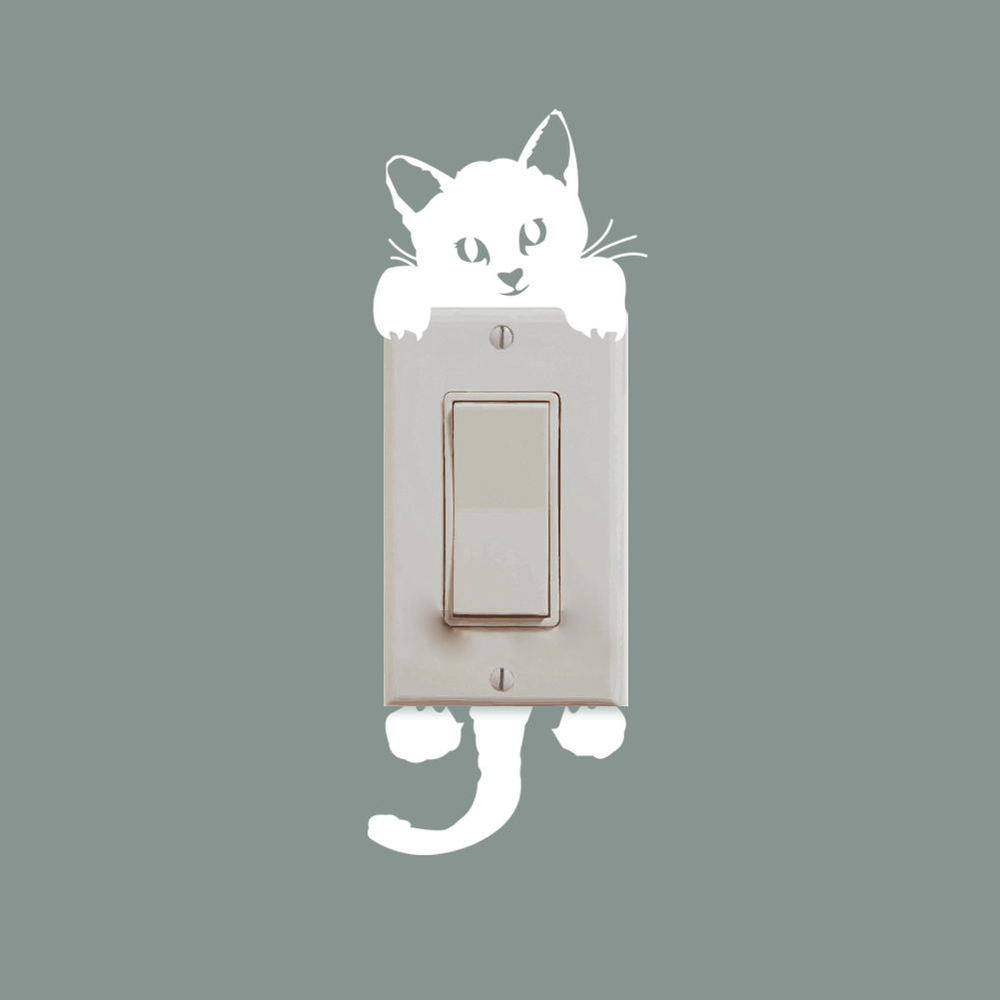 DIY Funny Cute Cat Dog Switch Stickers Wall Stickers Home Decoration Bedroom Parlor Decoration hot