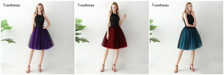 Streetwear 7 Layers 65cm Midi Pleated Skirt Women Gothic High Waist Tulle Skater Skirt rokjes dames ropa mujer 19 jupe femme 20