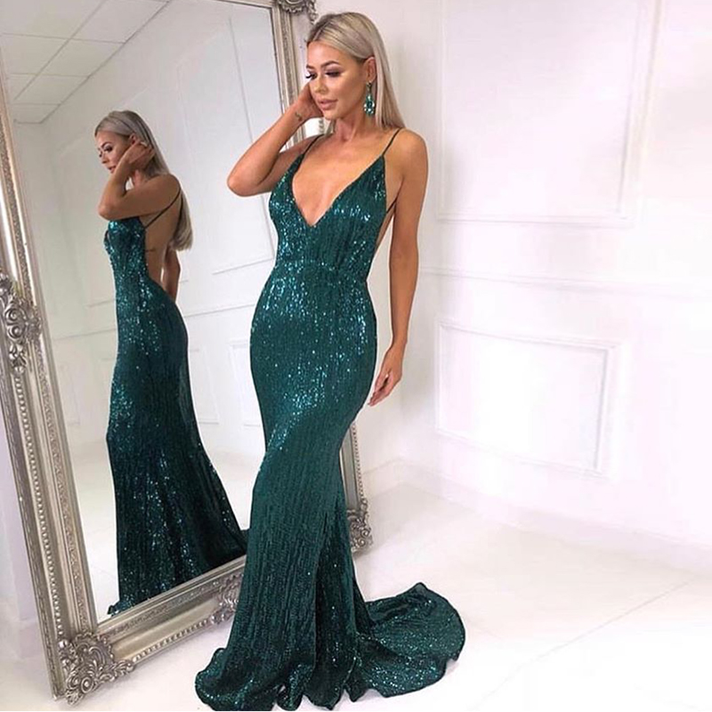Summer Shiny Green Sequined V Neck Maxi Dress Backless Maxi Dress Stretchy Backless Floor Length Padded