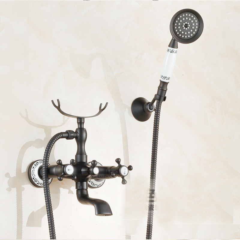 Oil Rubbed Bronze Wall Mounted Bathroom Tub Faucet Hand Shower Mixer Tap Brass