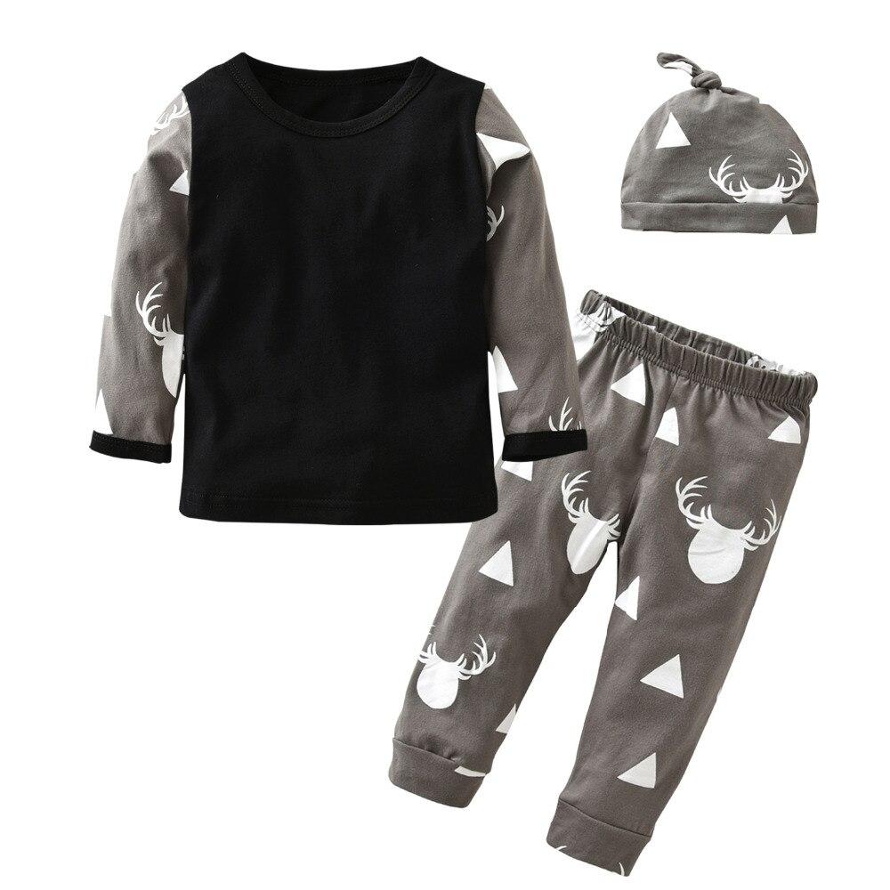 2017 New Style Newborn Baby Boys Girls Clothing Set Autumn Cotton Long Sleeve Deer Printing 3 Pcs Suit Newborn Toddler Clothes