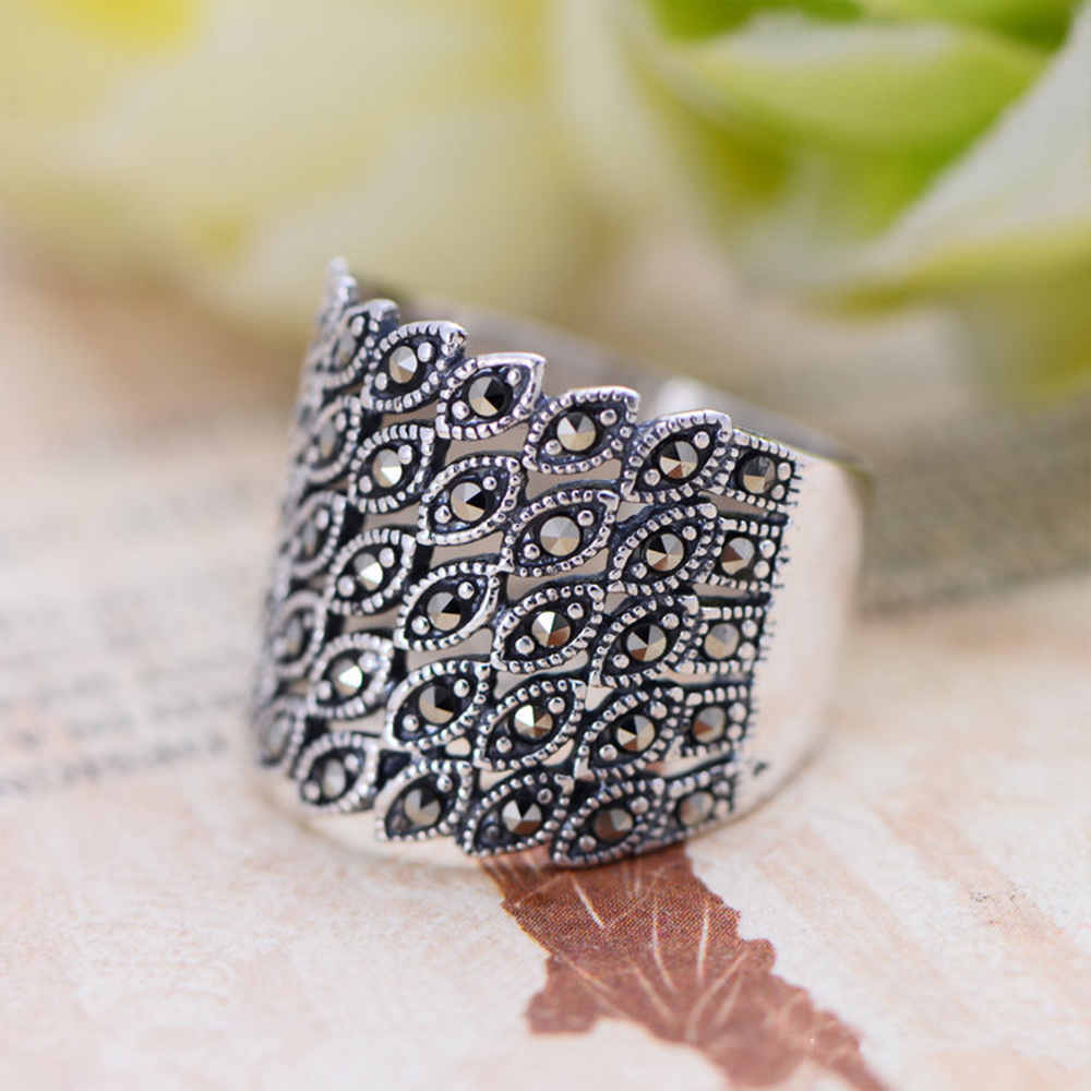 MetJakt Vintage 925 Sterling Silver Zircon Rings for Women s Party Wedding Anniversary Thai Silver Jewelry