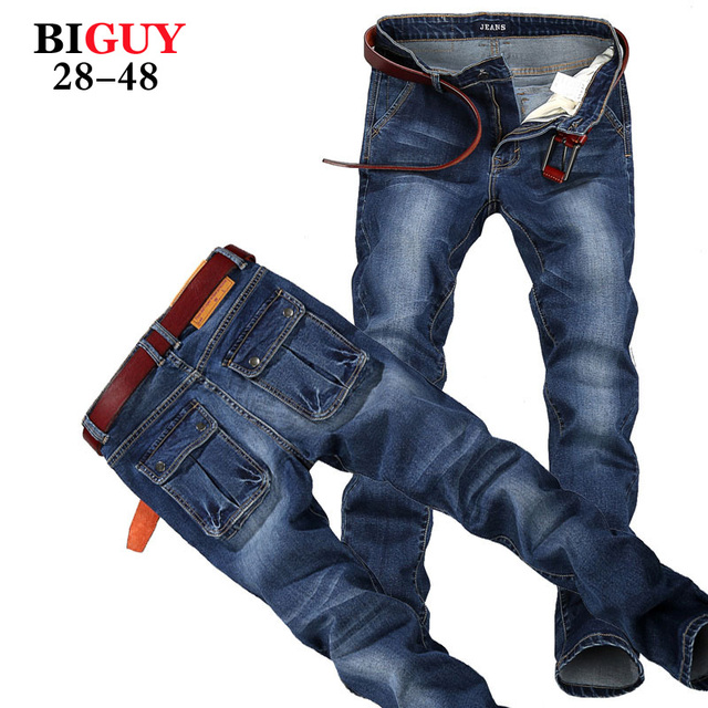 Big Guy Store Large Plus Size 42 44 46 48 Blue Elastic Men Jeans Slim Fit Straight Denim Pants cheap Men's Jean Skinny Homme