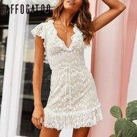 Affogatoo Sexy V neck lace summer White dress women Elegant ruffle sashes party dress Casual holiday short dress ladies vestidos