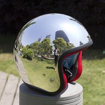 хром мотоциклетный шлем | VCOROS с открытым лицом винтажный мото Rcycle шлем ATV Ретро скутер шлемы Cascos Capacetes Moto Ciclistas Moto Casco Siler хром