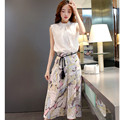 S-XXL Plus Size Printed Pants And Crop Top 2016 Spring Summer Chiffon Loose Fashion Wide Leg Pants Two Piece Set Women Hot Sale