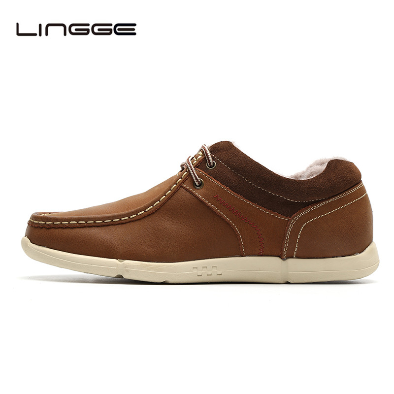LINGGE Design Top Leather Men Casual Shoes, Warn Fur Winter Man Shoe, Fashion Brand Male Winter Flats #M5658-8 new 2016 medium b m massage top fashion brand man footwear men s shoes for men daily casual spring man s free shipping