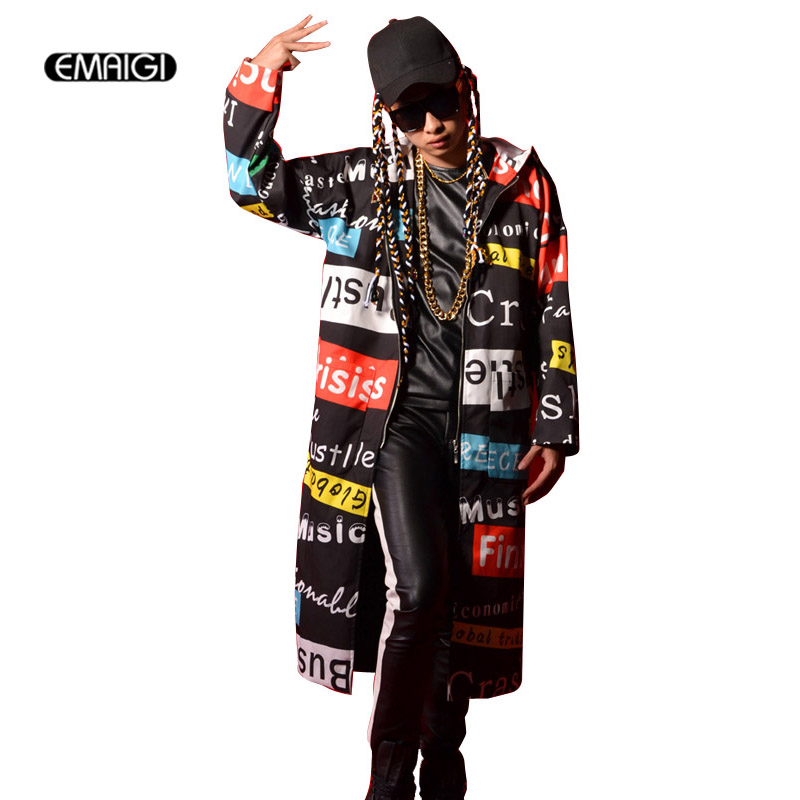 Male Singer Cloak Coat Stage Performance Clothing Men Fashion Hiphop   Trench   Outwear Letter Printed Long Hooded Windbreaker H4