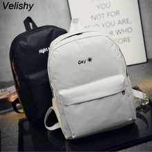 Velishy 1PC Fashion Lovers Backpacks Men Women Canvas Embroidery School Bag For Teenagers Student Book Bags Back Pack