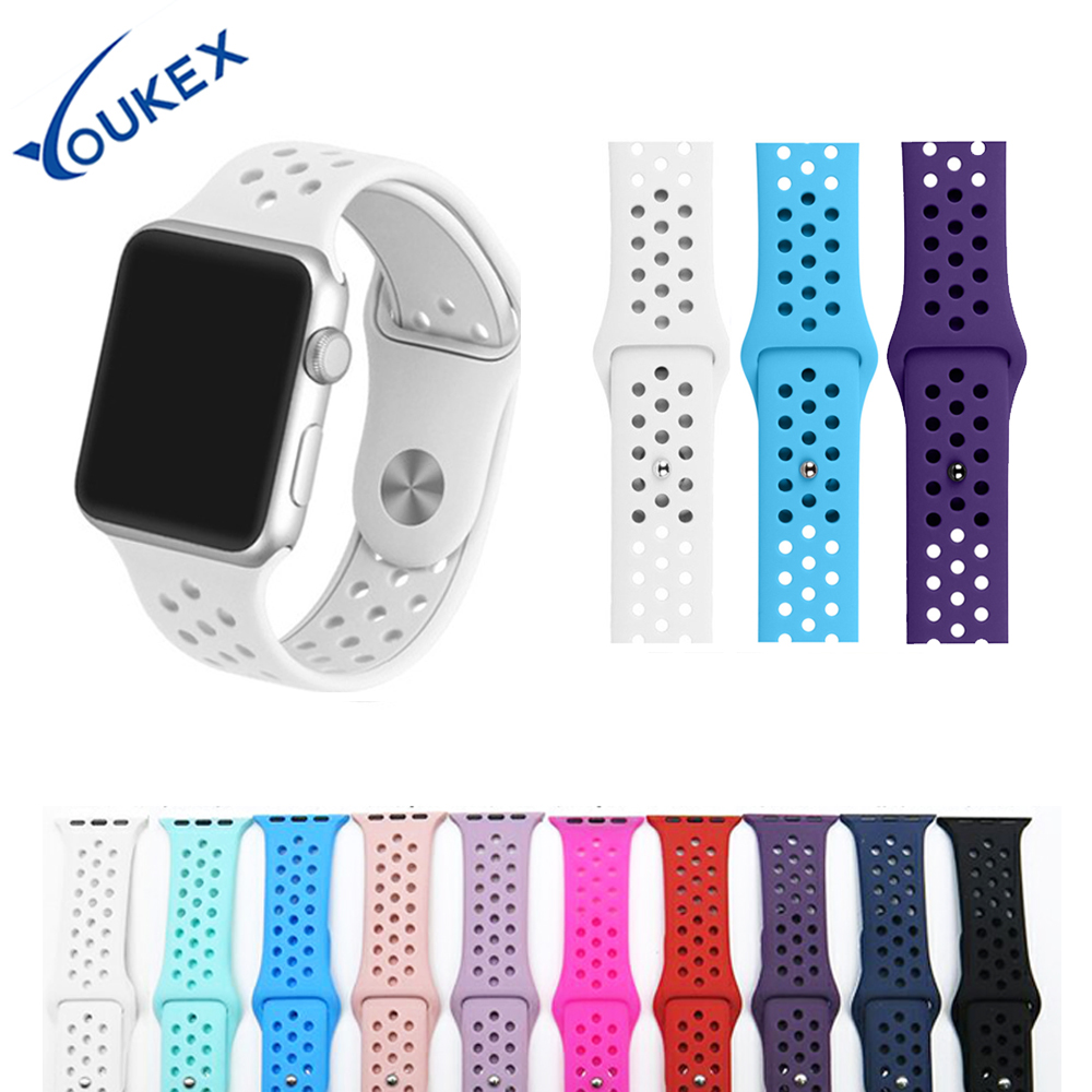 YOUKEX silicone sport strap for apple watch 38mm 42mm replacement wrist band bracelet for iwatch series