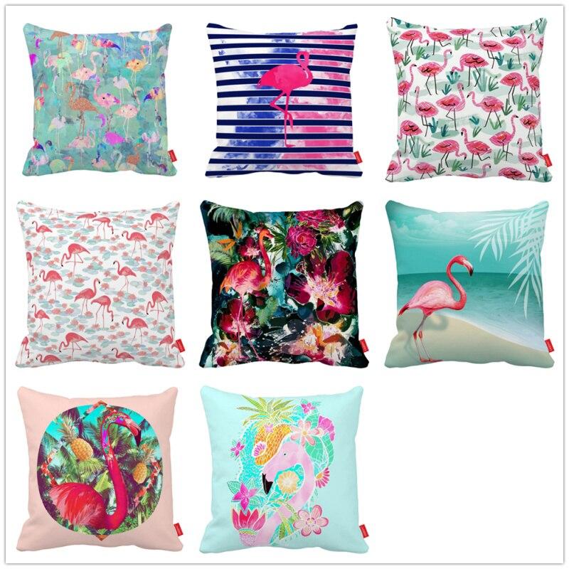 Watercolor Flower Seamless Geometric Flamingo Canvas Car Decorative Throw Pillowcase Pillow Case Cushion Cover Sofa Home Decor