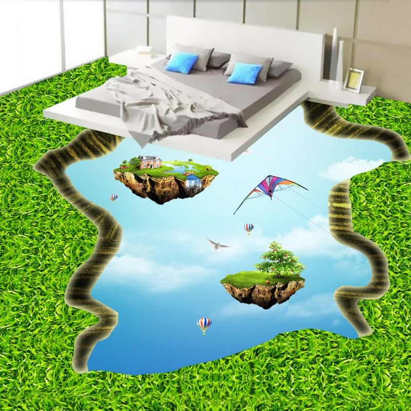 Free shipping 3D green empty island floor custom flooring moisture proof non-slip bathroom living room 3d wallpaper mural free shipping ground cracked canyon square street 3d park floor stickers thickened moisture proof flooring wallpaper mural