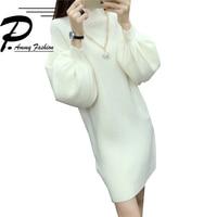 2018 autumn & winter new Korean version of the semi high collar loose lantern sleeves long bat sweater knit sweater dress