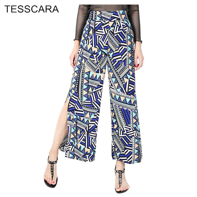 be52a9a58a Women Summer Fashion Print Pants Capri Female Casual Beach Wide Leg Bottoms  Soft Chiffon Sundress Sweatpants Home Wear Trousers
