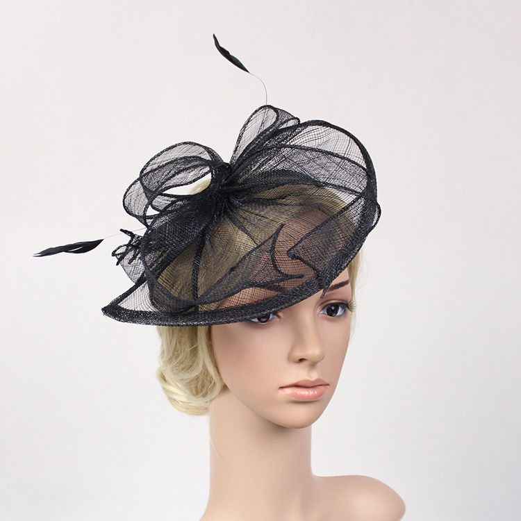 Waterdrop Sinamay Headband Fascinator Black Beige Bride Wedding Party Feather Fascinator Headdress Hairband Hair Accessories free shipping high quality 2015 mini disc flower sinamay fascinator with feather for race