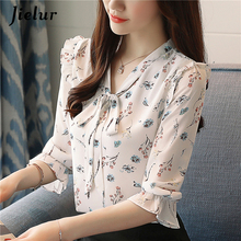 Jielur 2019 Autumn Three Quarter Women's Blouses Print Floral Print Chiffon Shirts Casual Lace Up Female Blusas Ladies Top S-XXL