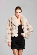 Luxury Women Real Fox Fur Jacket Whole Fox Fur Collar Winter Warm Outwear Full Sleeves Short Style Spliced Fur AU00028