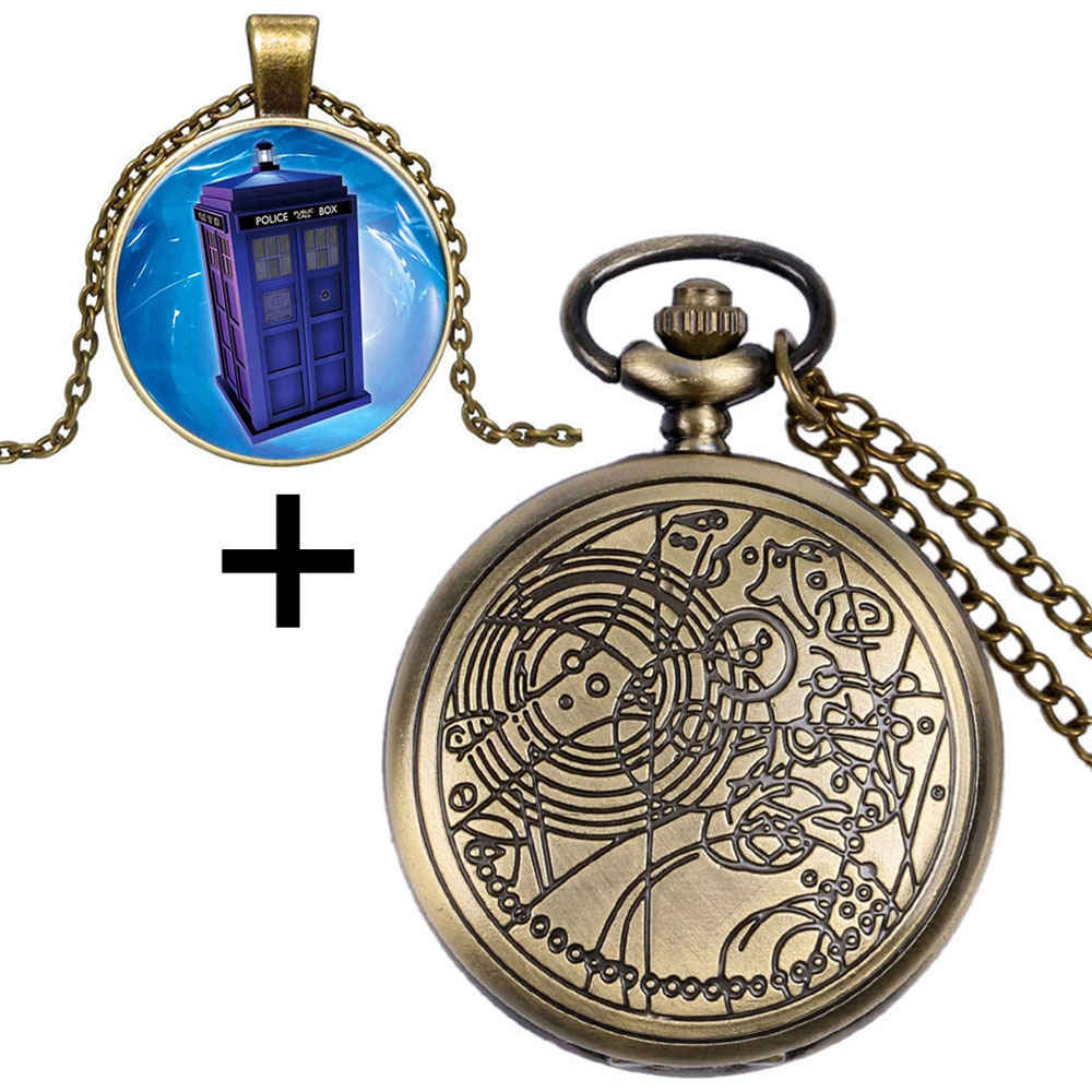 Antique Bronze Doctor Who Quartz Pocket Watch With Dr. Who Symbol Police Box Glass Dome Pendant & Gift Box Best Collection doctor who corpse marker monster collection ed