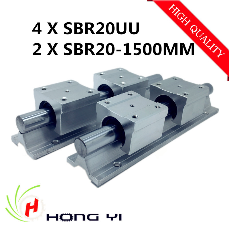 2pcs SBR20 -L 1500mm linear bearing rails shaft support + 4pcs SBR20UU linear slide bearing unit case/block for CNC XYZ table best price for 2pcs sbr20 l 1100mm linear rails slide support 4pcs sbr20uu bearing blocks