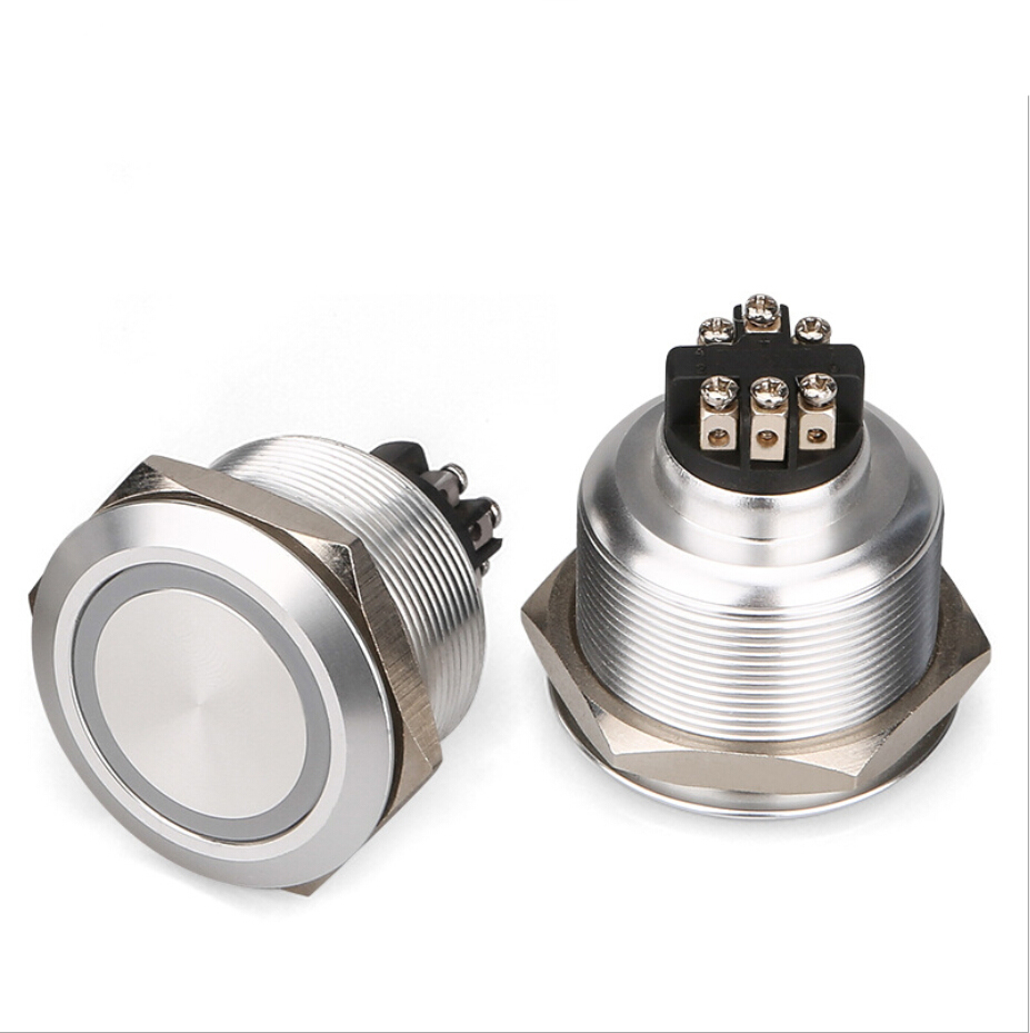 screw terminal 30mm stainless steel Reset Momentary 1NO1NC push button switch 6V , 12V , 24V 110V 220V ring illum.