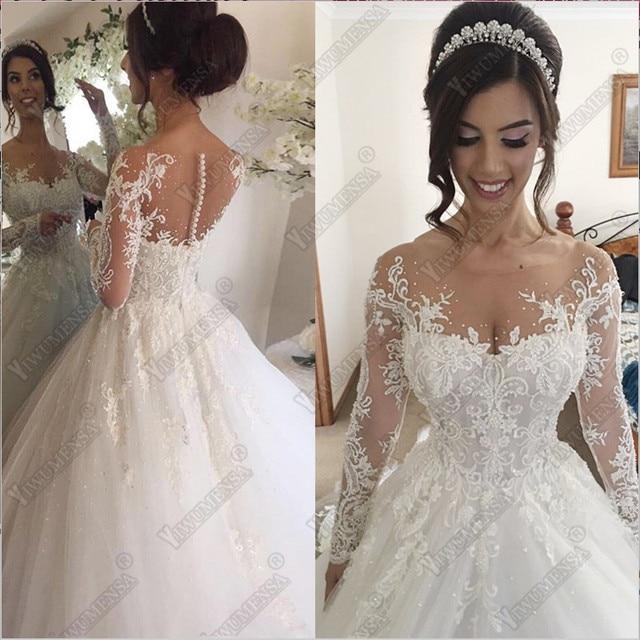 Robe De Mariage Bal Robes Mariée Luxe Perles Dentelle Manches Longues Vestidos Novia 2018