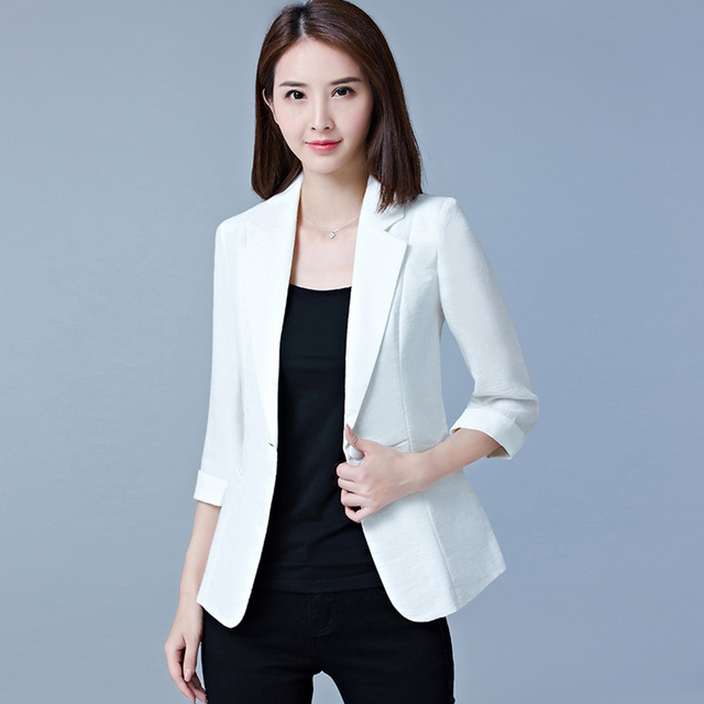 68ef8879cb4 Office Wear Casual Blazer Women Plus Size Pink Cotton Elegent Formal Jacket  Womens Blazers Korean Outwear Woman Coat X50028