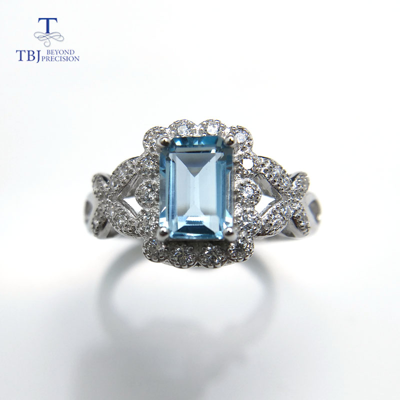 TBJ,2018 new elegant natural blue topaz ring solid 925 sterling silver jewelry fashion r ...