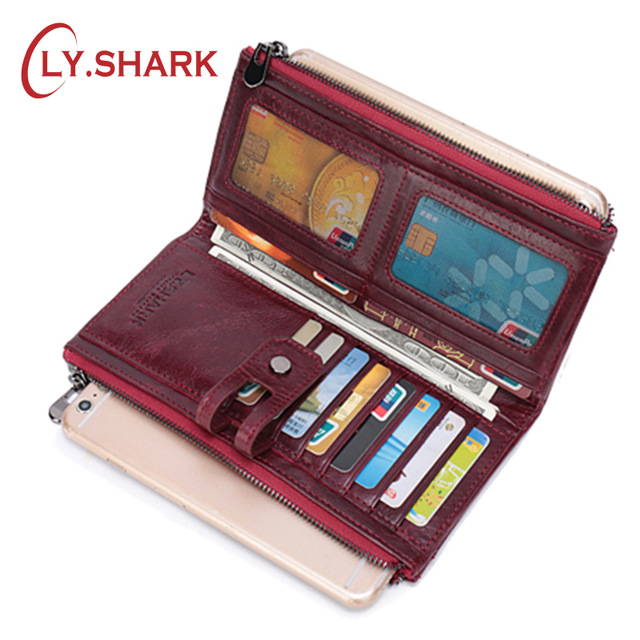LY.SHARK Genuine Leather Long Ladies Purse Red Wallet Women Coin Walet Money Bag Female Clutch Phone Wallet Credit Card Holder