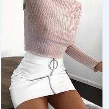 2018 New Fashion Skirt Women White PU Leather Pencil High Waist Mini Short