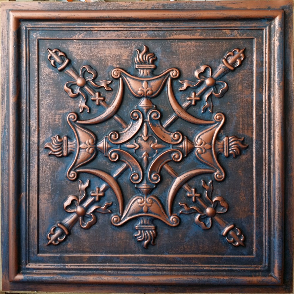 Pl07 Faux Tin 3d Relief Ceiling Tiles Aged Red Copper