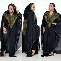 African Dresses For Women Muslim Long Dress New AFrican Design Bazin Chiffon Long Stick Diamond SLeeve Dashiki Dress For Lady