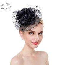 Hair-Clips Ribbon-Accessories Feather Fascinator Headband Flower Fashion Women Cocktail