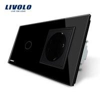 Free Shipping Livolo Touch Switch With EU Standard Socket Black Crystal Glass Panel 16A EU Socket