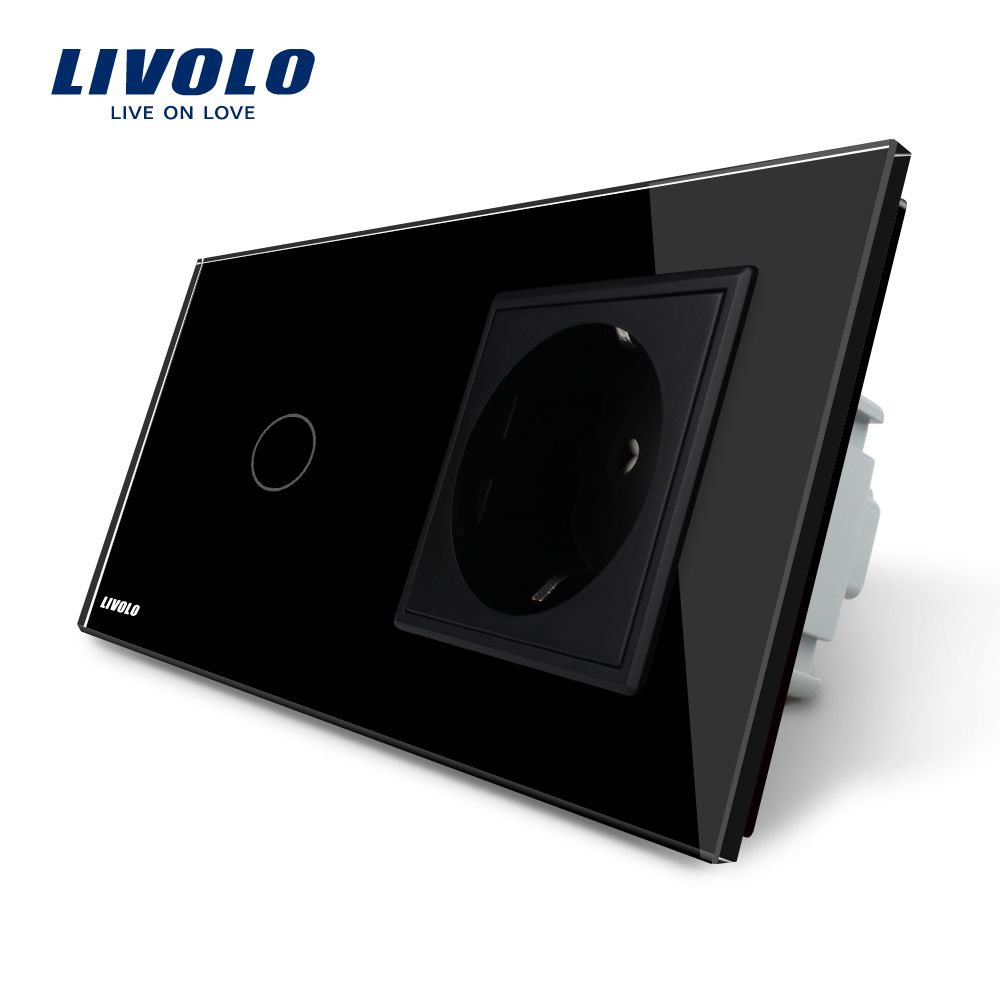 Livolo Touch Switch with EU Standard Socket ,AC 220~250V, Black Crystal Glass Panel, 16A EU Socket, VL-C701-12 / VL-C7C1EU-12 livolo eu standard touch timer switch ac 220 250v vl c701t 32 black crystal glass panel wall light 30s time delay switch