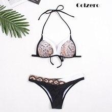 2019 змея печатных для женщин комплект бикини Push up лоскутное Бандо купальник сексуальный женский купальники для малышек повязки Strappy Biquini пляжная