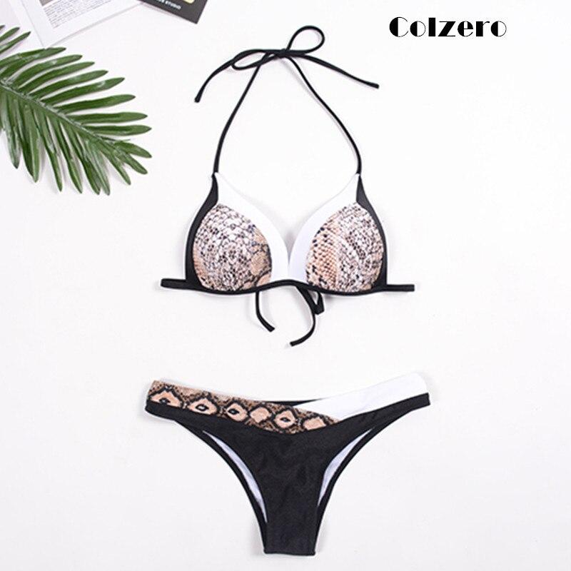 2019 serpiente, las mujeres Bikini Push up Patchwork Bikini traje de baño Sexy trajes de baño vendaje sandalias Biquini Bañadores