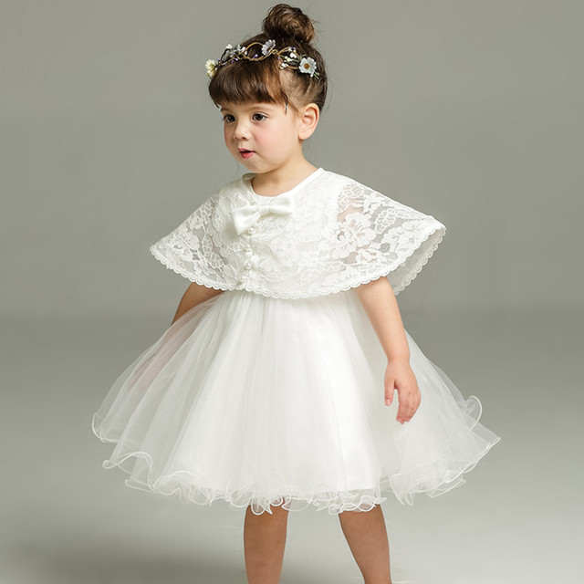 2pcs Set Of One Year Old Baby Girl Baptism Dress Princess Wedding Vestidos Tutu 2019 Baby Girl Baptism Clothes ABF164701