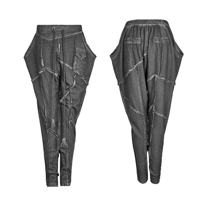 Large Femme Hop Haute Hip 2019 Pantalon Steampunk Cordon Printemps été De Femmes Spliced Casual Taille Harem BwZYEEFxq