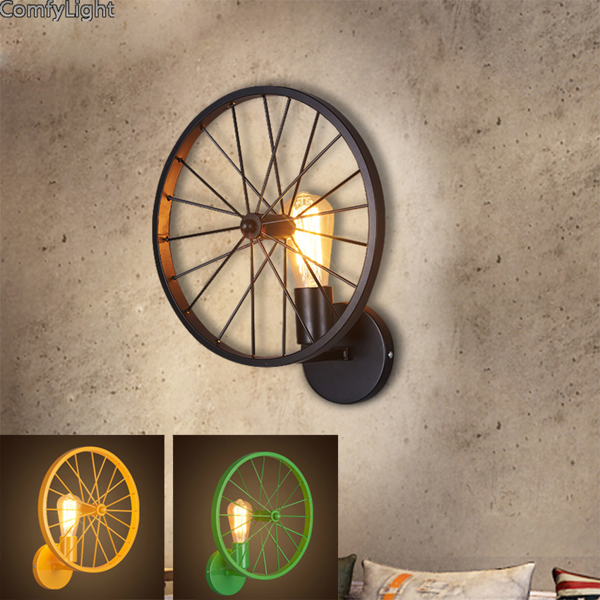 Surface Mounted Indoor Wall Lamp Vintage Loft Wall Light E27 Edison Bulb Plated Iron Retro Industrial Home Lighting Bedside Lamp vintage edison bulb wall lighting lamp fixture wrought iron retro loft creative personality industrial light for restaurant page 3