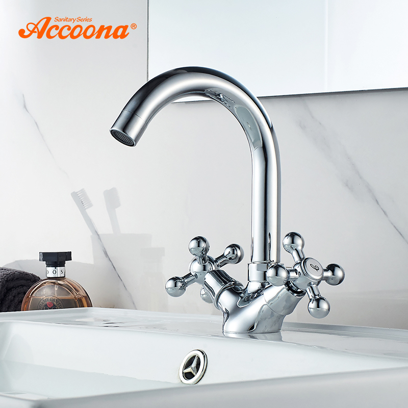 Accoona Basin Faucets Double Handle Deck Mounted Bath Shower Faucets Dual Hole Bathroom Sink Washbasin Water Mixer Tap A9671