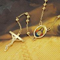 Лояльные мужские Прохладный подвеска желтого золота gf крест ожерелье цепь из бус 23.6