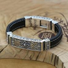 100% 925 Sterling Silver Men Bracelet Fine Leather Buddhist Vajra Symbol Bracelet Pure Silver Tibetan Six Words Bracelet Jewelry недорого