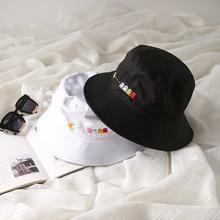 Kapelusz typu Bucket kobiety mężczyźni moda Bob Cap Hip Hop Gorros haft Pac Man lato Unisex czapki bawełniane plaża słońce kapelusz wędkarski kapelusz typu Bucket tanie tanio AIMAISEN COTTON Dla dorosłych Mieszkanie Cartoon Pac-Man Wiadro kapelusze Na co dzień